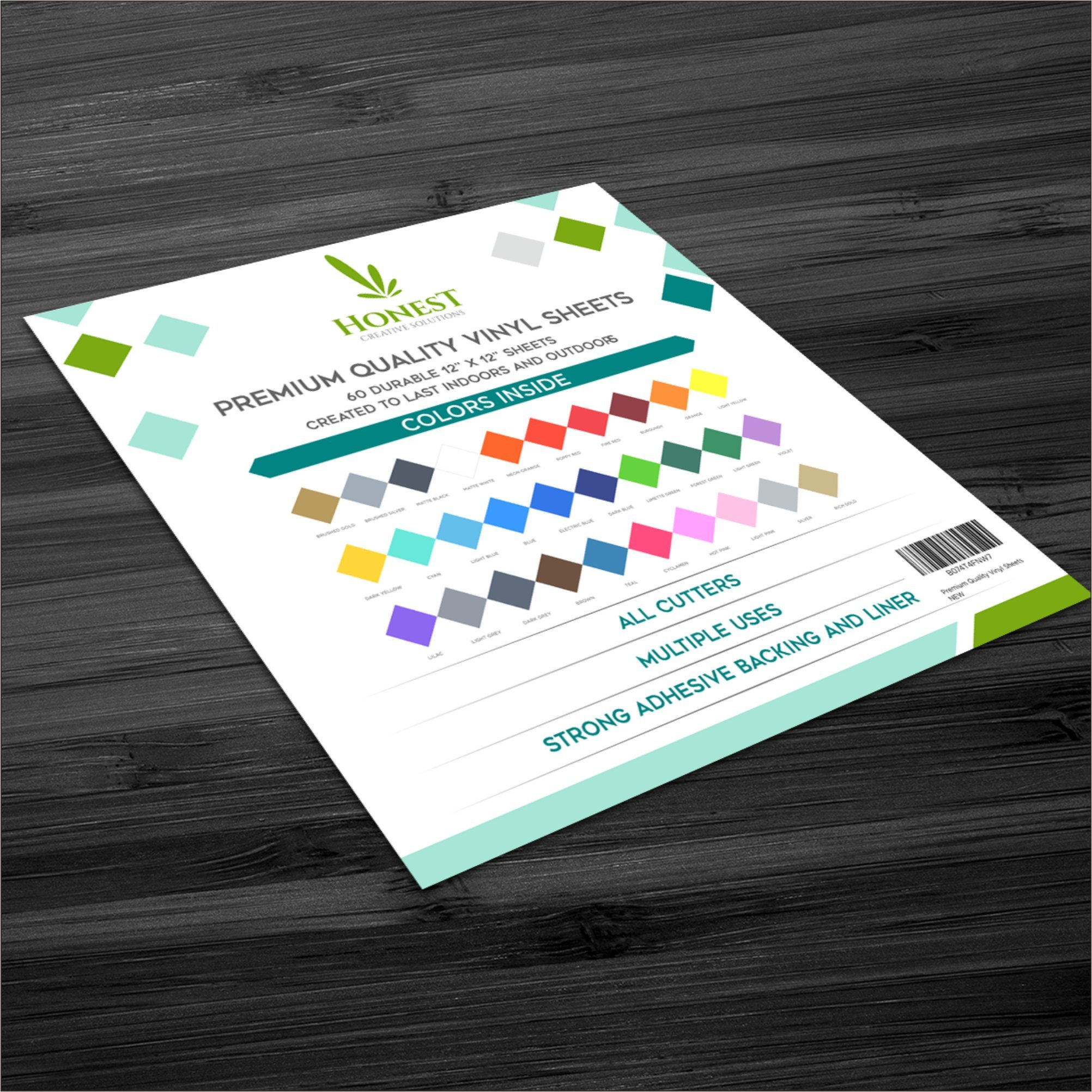 (NEW LAUNCH SPECIAL) Premium Permanent Adhesive Backed Vinyl Sheets- Honest Creative Solutions- 60 Sheets 12'' x 12'' Assorted Colors and Finishes works with all Craft Cutters