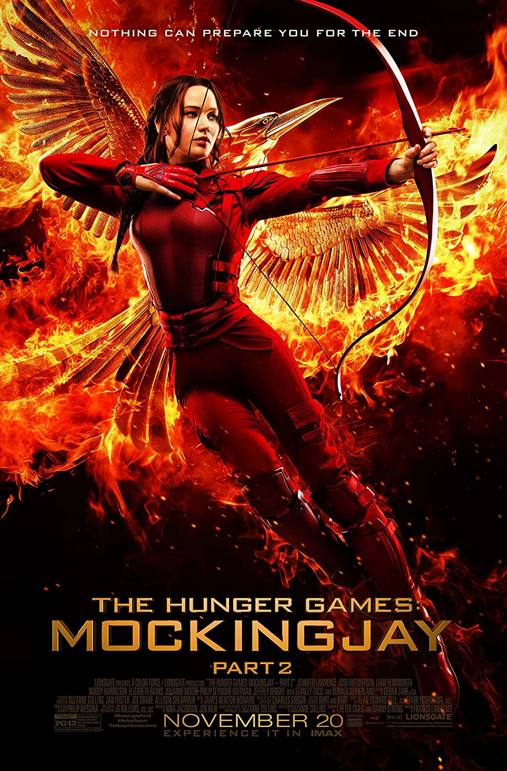 "KATNISS - The Hunger Games: MockingJay Part 2 (2015) Movie Poster, 24 x 36"" Inches - Theater Quality (THICK 8 Mil) - Jennifer Lawrence, Josh Hutcherson, Liam Hemsworth"
