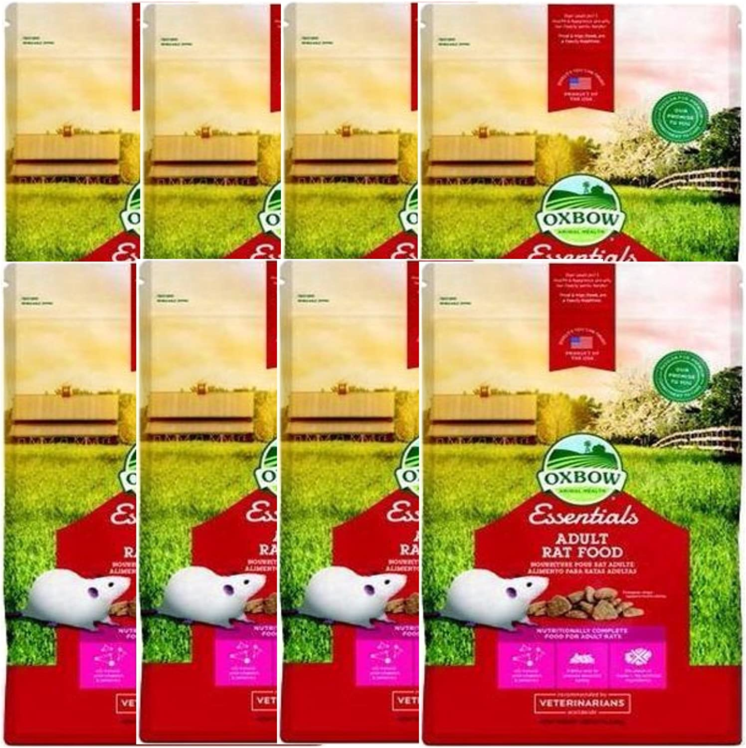 Oxbow Regal Rat Adult Food Essential Fortified Nutrient Low-Fat Kibble 3lb 8PACK
