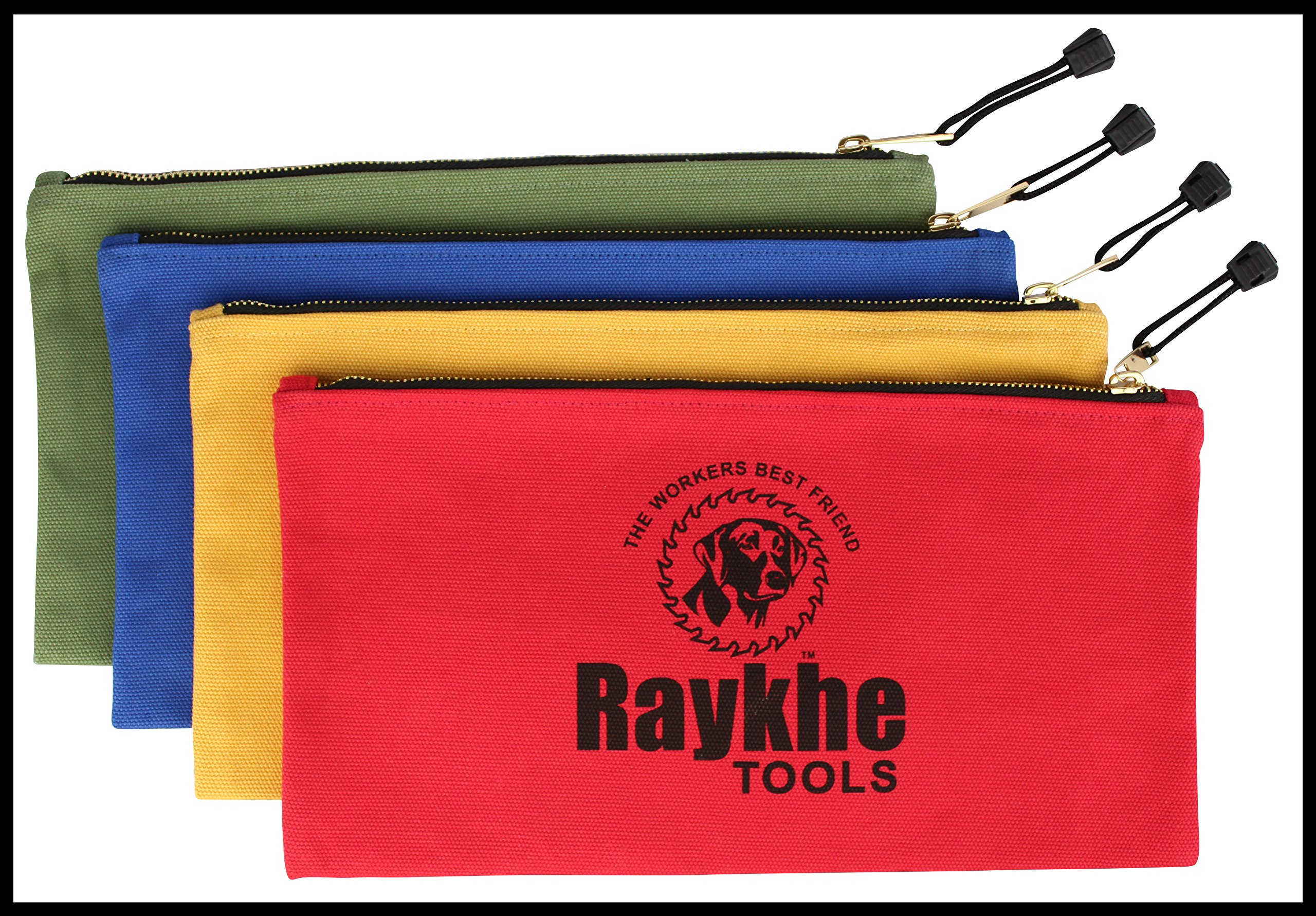 Canvas Zipper Tool Bags 12.5'' x 7'' - 4 Pack - 20oz Heavy Duty Canvas With Large Zipper - Canvas Tool Pouches - Professional Grade - The toughest canvas on the market for this size of bag!