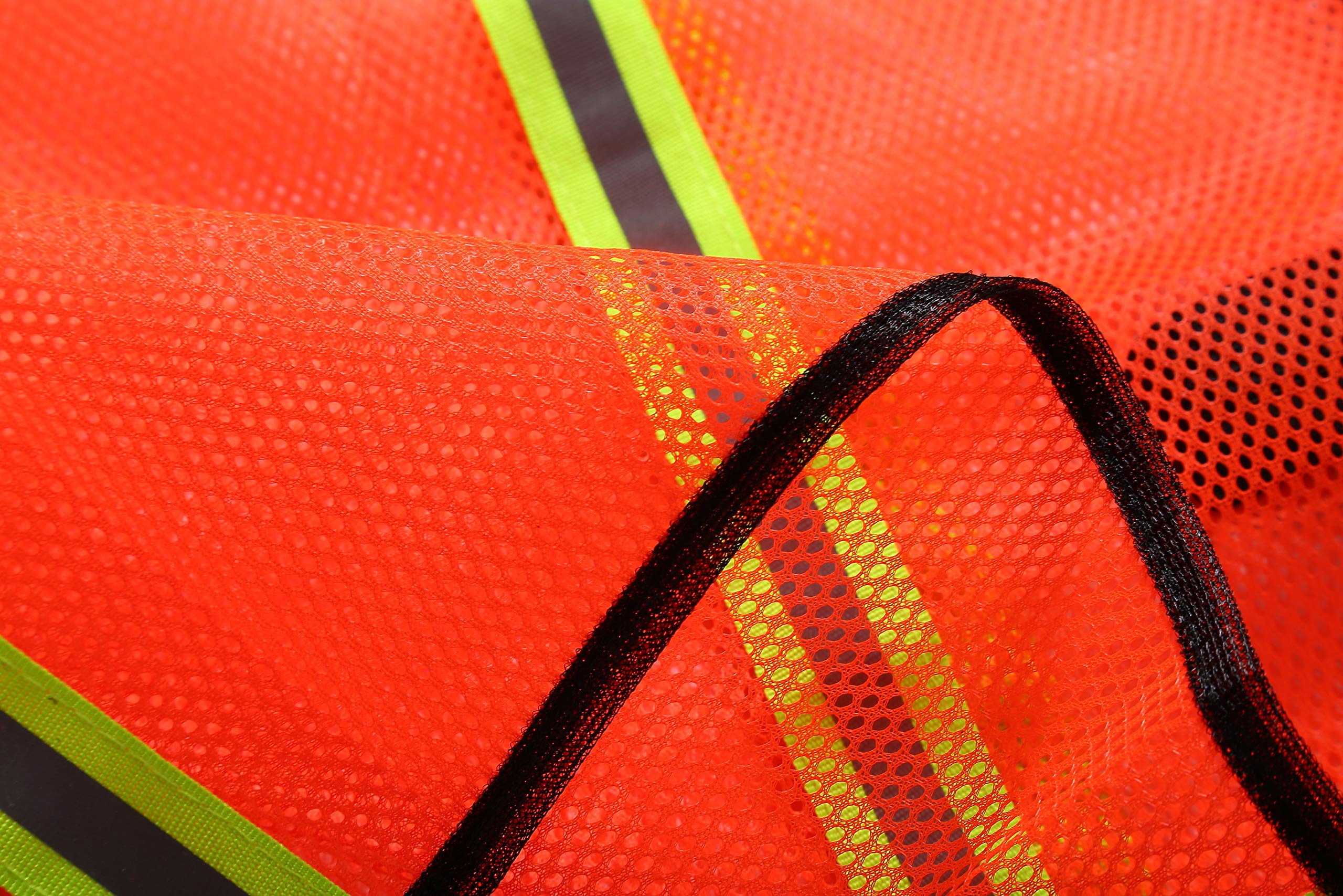 SIFE High Visibility Reflective Safety Vest with 1 Inch Reflective Strips,Made from Breathable and Neon Orange Mesh Fabric,Universal Size,10 pack by SIFE (Image #6)