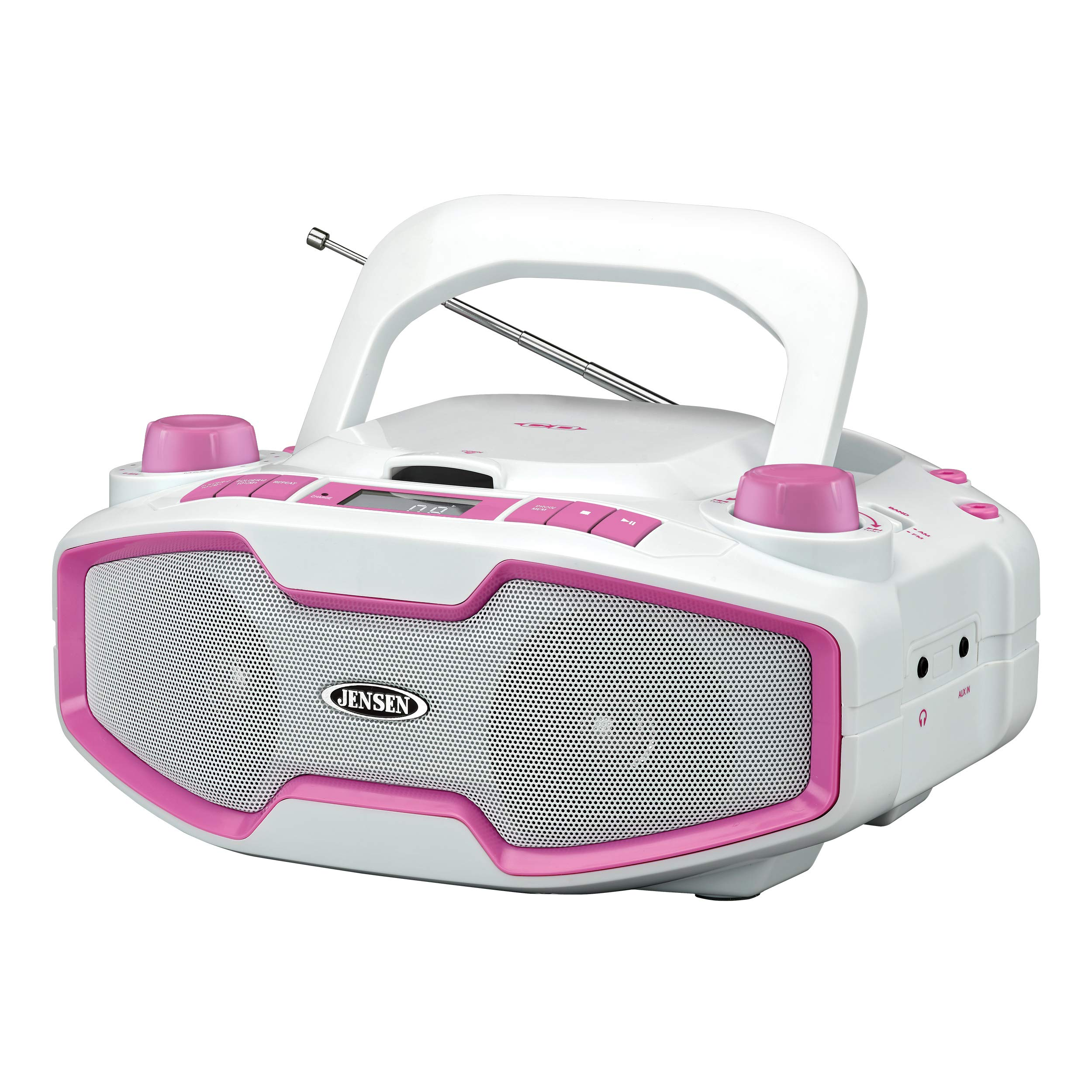 Jensen CD-575 Pink Portable Sport Stereo Boombox CD/MP3 Player with Digital AM/FM Radio LCD Display with Built-in Rechargeable Battery & Aux-in & Headphone Jack (White/Pink) (Limited Edition)