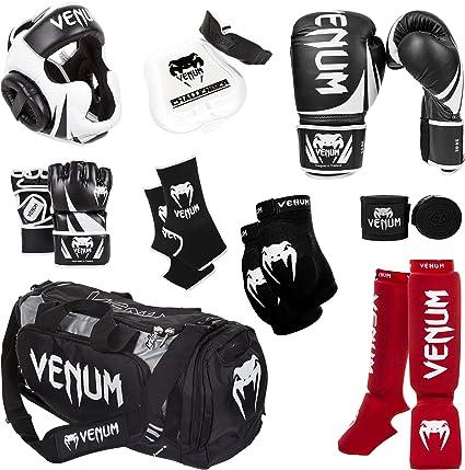 Venum - Pack de entrenamiento Challenger 2.0 para artes marciales mixtas - US-VENUM-CBLK10-L/XL-Red, 10-Oz. Boxing Gloves, L/X-L MMA Gloves, Guantes negros, espinilleras rojas, guantes MMA negros, casco negro, vendas negras, protector bucal