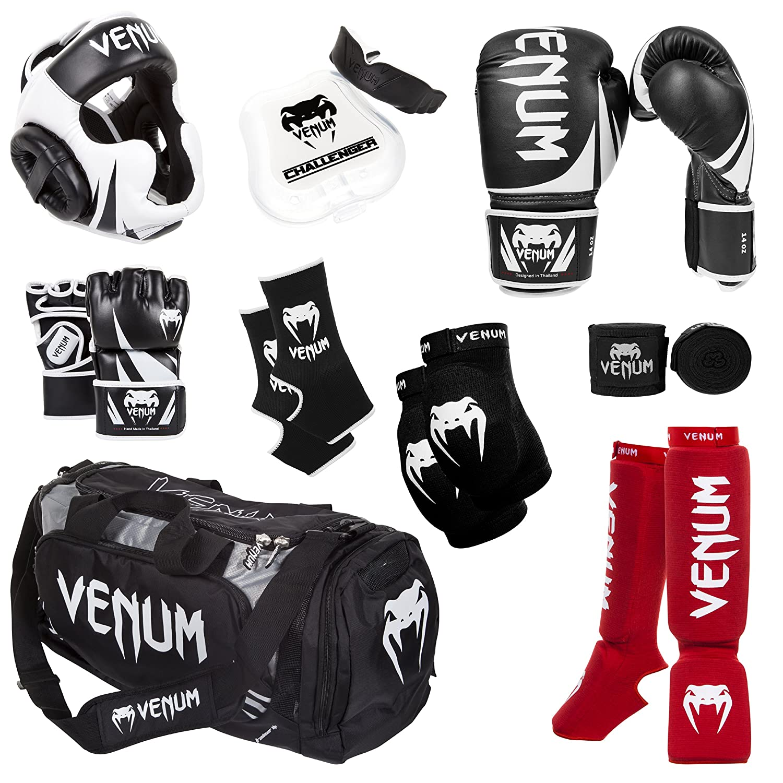VENUM CHALLENGER ADULT SHIN GUARDS BLACK MMA Training Sparring