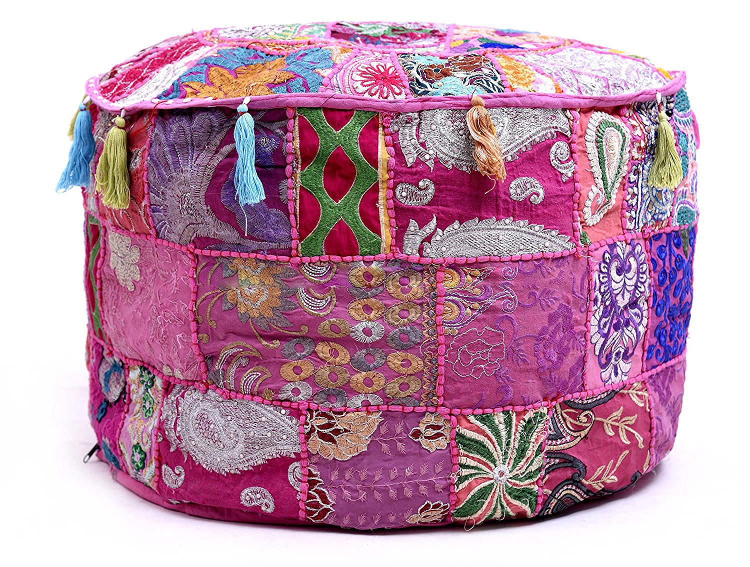 Aakriti Gallery Indian Pouf Footstool Ethnic Embroidered Pouf Cover, Indian Cotton Round Pouffe Ottoman Pouf Cover Pillow Ethnic Decor Art - Cover Only (18x13inch) (Pink)