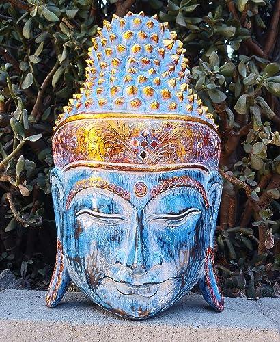 Bali Buddha Wood Mask Carving Meditating Art Asian Home Decor 16″ x 10″