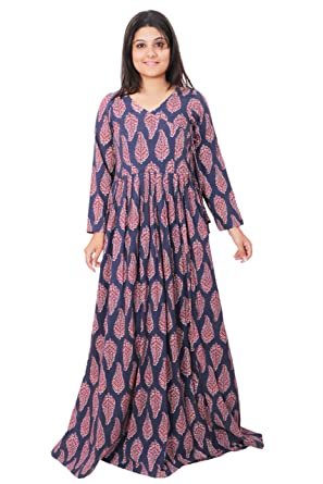 ROS Cotton Designer Pink and Blue Print Gown Dress  Amazon.in  Clothing    Accessories 3f25a7452