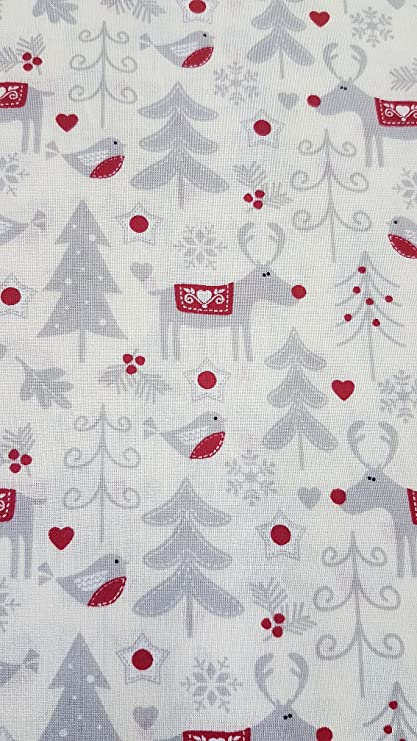 Polycotton Fabric Christmas Reindeer Lines Red on White Festive Xmas 135cm Wide