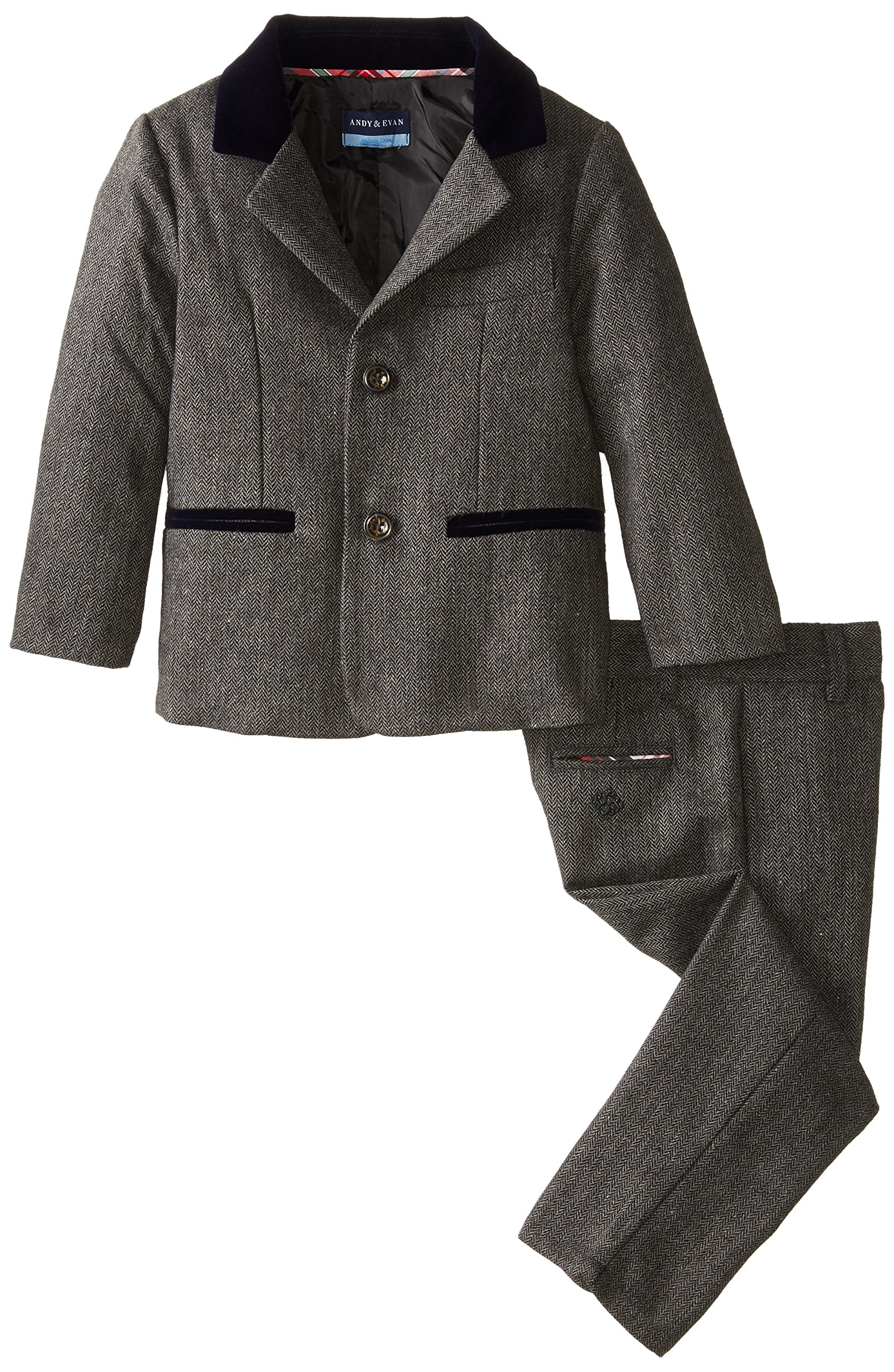 Andy & Evan Little Boys' Herringbone Suit Set, Black, 5 Years