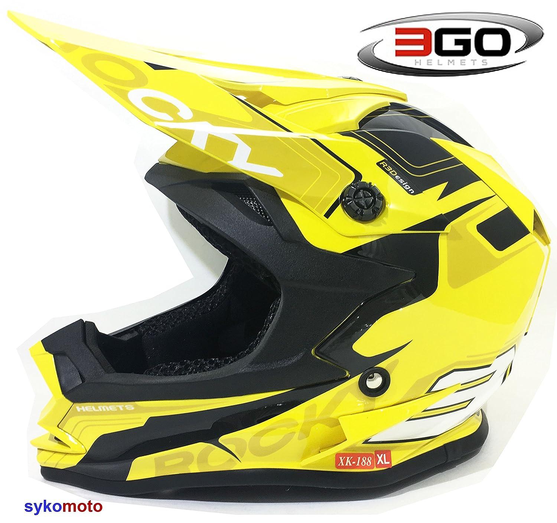 49-50 CM 3GO XK188 ROCKY NI/ÑOS Y NI/ÑAS MOTOCROSS OFF ROAD ATV QUAD BMX DIRT CASCO AMARILLO M