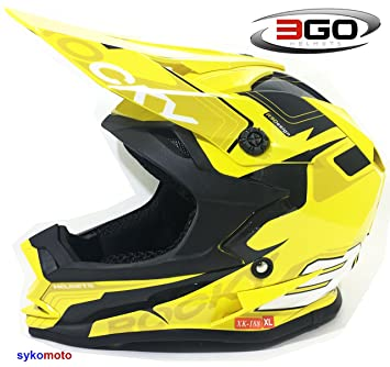 3GO XK188 ROCKY NIÑOS Y NIÑAS MOTOCROSS OFF ROAD ATV QUAD BMX DIRT CASCO AMARILLO (