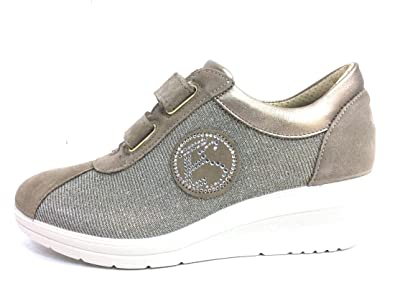 Soft Made 12655 Sneaker Pelle 50 Enval Taupe In Zeppa Donna Scarpa IvmYb76fyg