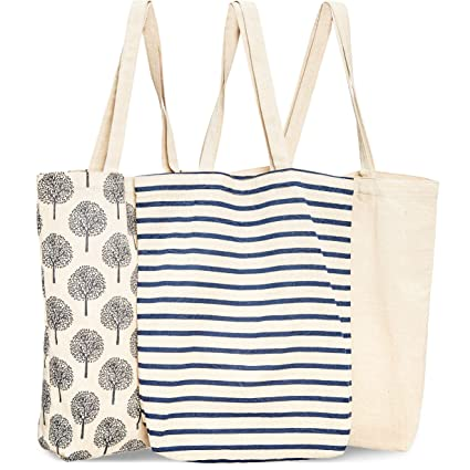 482bf3bc94e5 Juvale 3-Pack Reusable Cotton Grocery Shopping Tote Bags, 3 Designs, 15 x  16.5 x 3.5 Inches