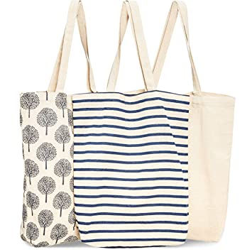 Bolsas reutilizables para comestibles, 3 unidades, 3 diseños diferentes, bolsas con asas para la compra de algodón duraderas, 38 x 42 x 9,4 cm
