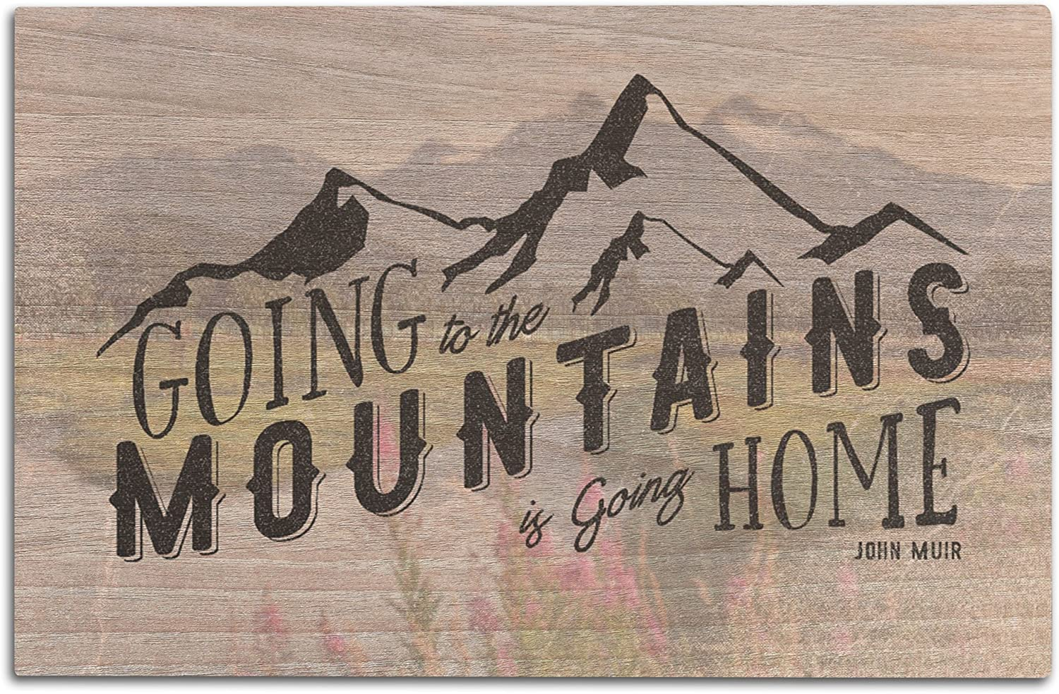 Lantern Press John Muir Quote - Going to The Mountains is Going Home (12x18 Wood Wall Sign, Wall Decor Ready to Hang)