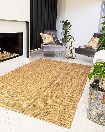 NaturalAreaRugs 100 Natural Fiber Handmade Reversible Elsinore Jute 5 x 8 Rug Beige