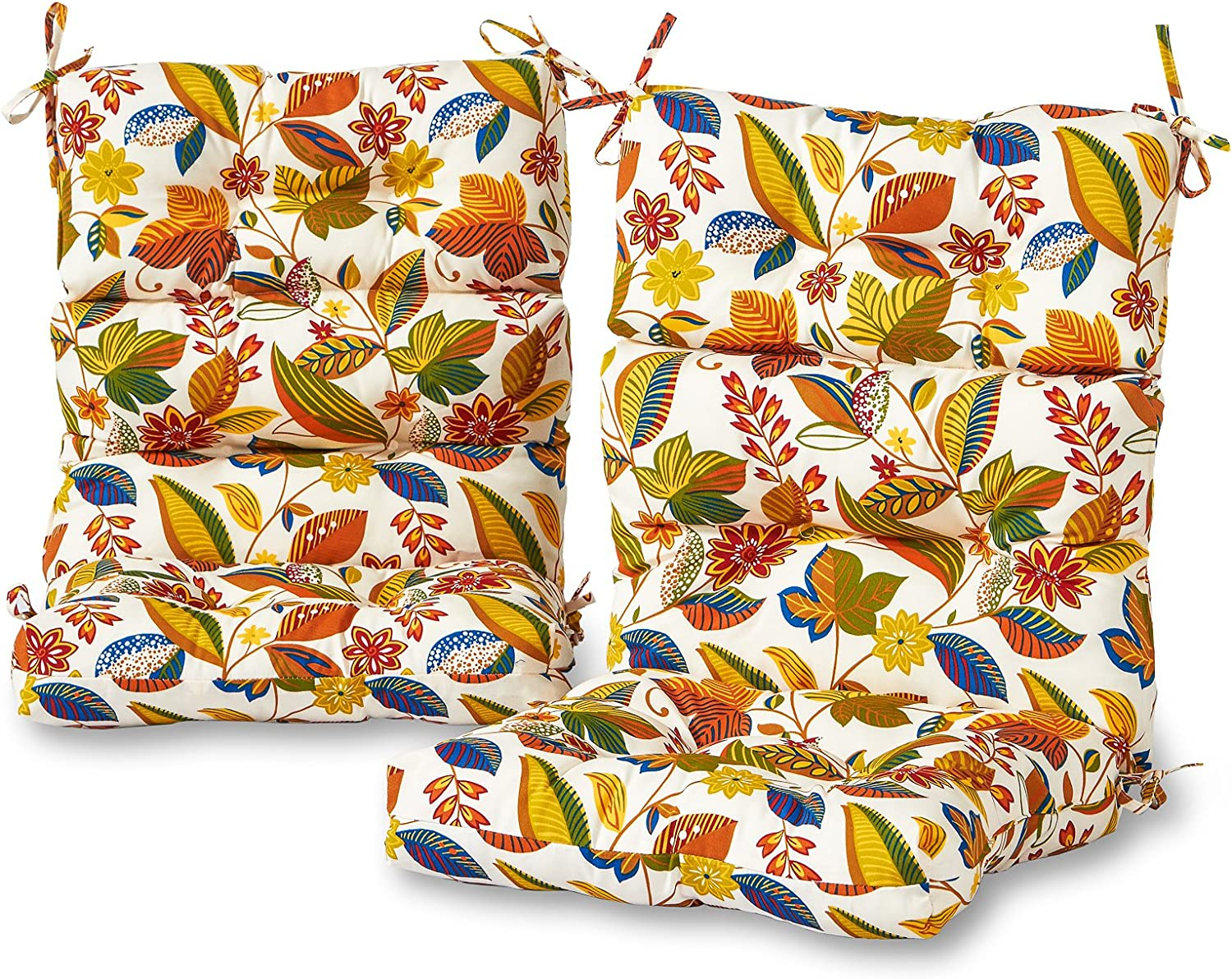 Greendale Home Fashions AZ6809S2-ESPRIT Foliage Outdoor High Back Chair Cushion (Set of 2)