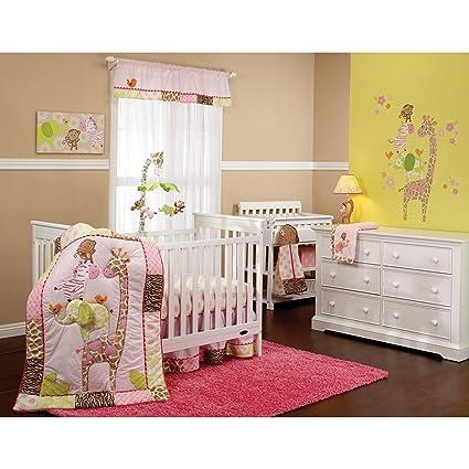 amazon com 4 piece baby girls pink brown yellow jungle crib bedding