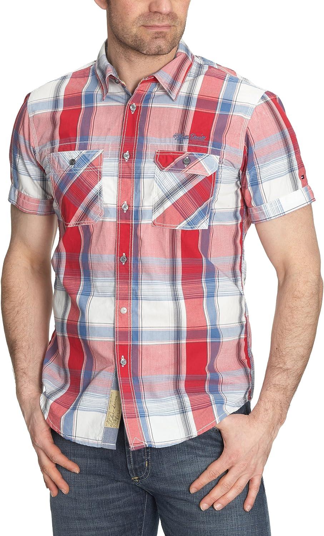 Tommy Hilfiger - Camisa de Manga Corta para Hombre, Talla 48, Color Rojo (Tango Red)/Multicolor: Amazon.es: Ropa y accesorios