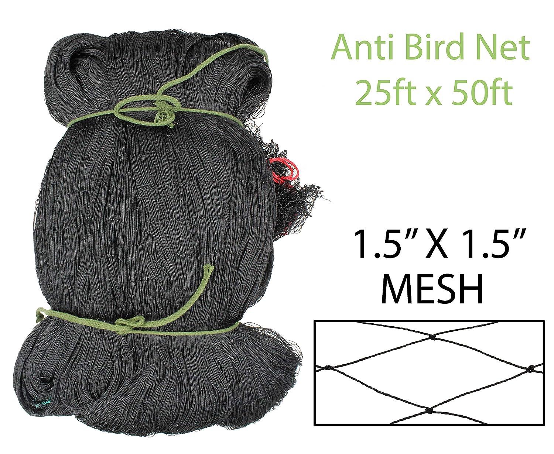 Amaranth Nets 25 x 50 Bird Netting with 1.5 x 1.5 Mesh Size, High-Density Polyethylene HDPE UV Stabilized Material