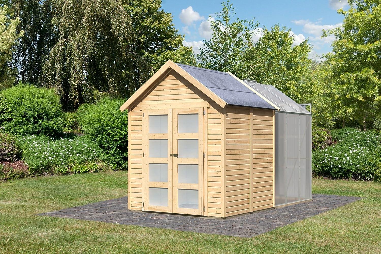 Caseta de jardín madera, 3, 64 m2 con invernadero policarbonato 3, 70 m2 () 19 mm, diseño de 4: Amazon.es: Jardín