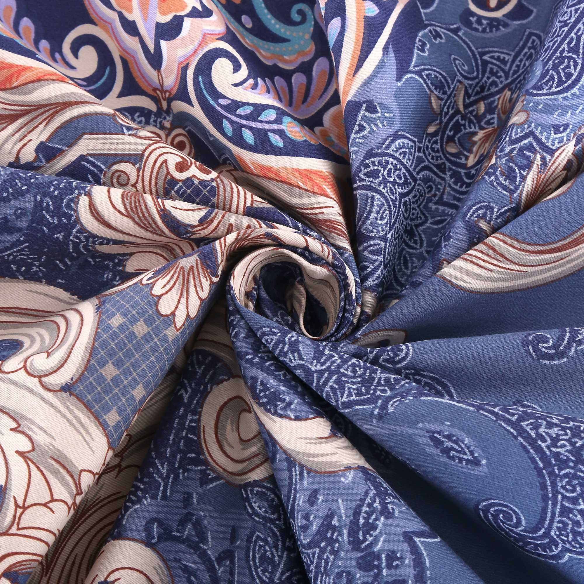 Alibasis Cotton Floral Pattern Bedding Quilt Set, 3-Piece Bohemian Style 100% Cotton Duvet Cover Set For Kids Bedroom Guestroom (90\