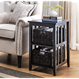 2L Lifestyle Greenville Woven Basket Side Table, Small, Black