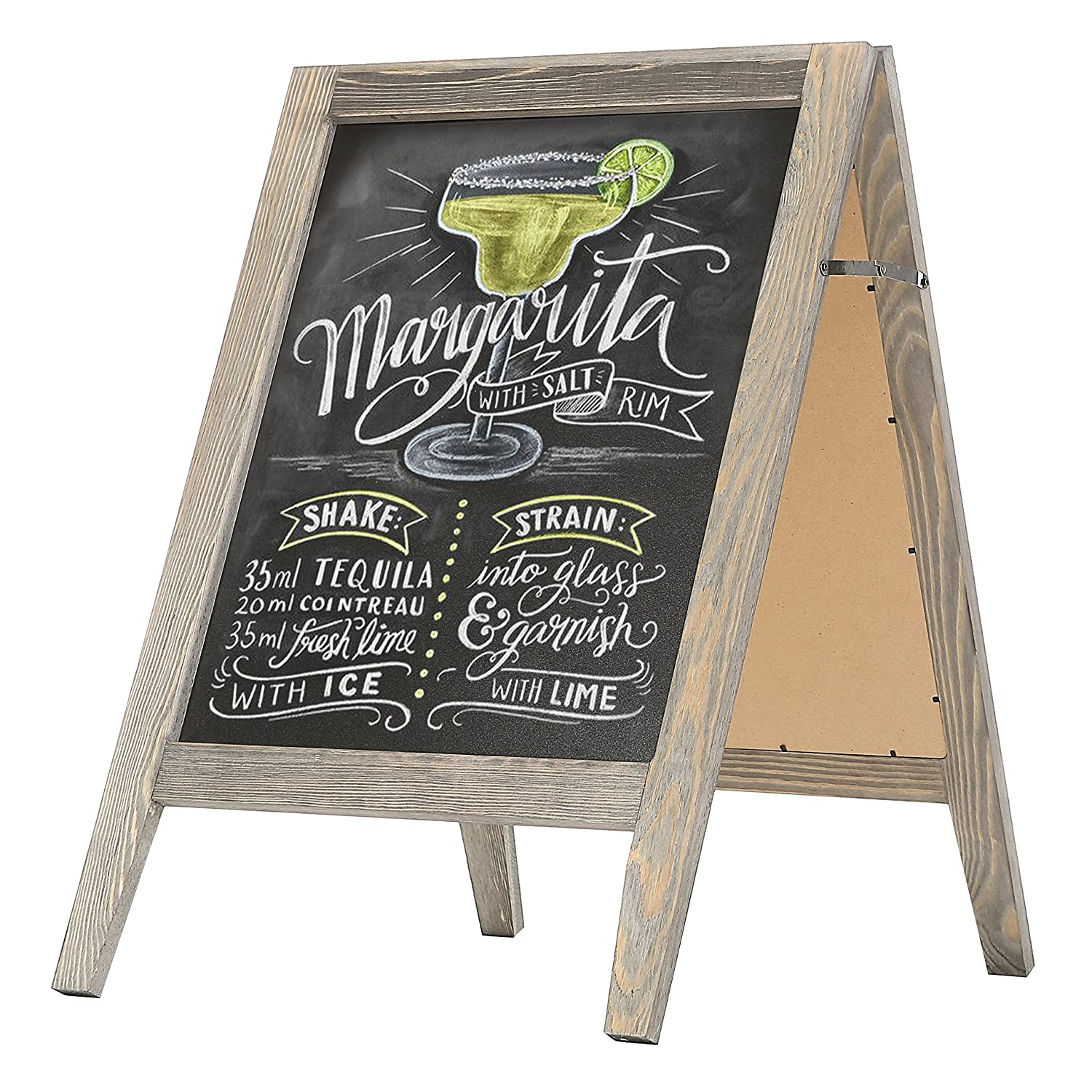 MyGift Rustic Stained Vintaged Wooden Freestanding A-Frame Double-Sided Chalkboard Sidewalk Sign