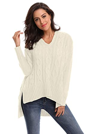 d955ca8050ef SHEKINI Women's Sweater Casual Long Sleeve V Neck Chunky Cable Knit  Oversized Pullover Jumpers (Beige