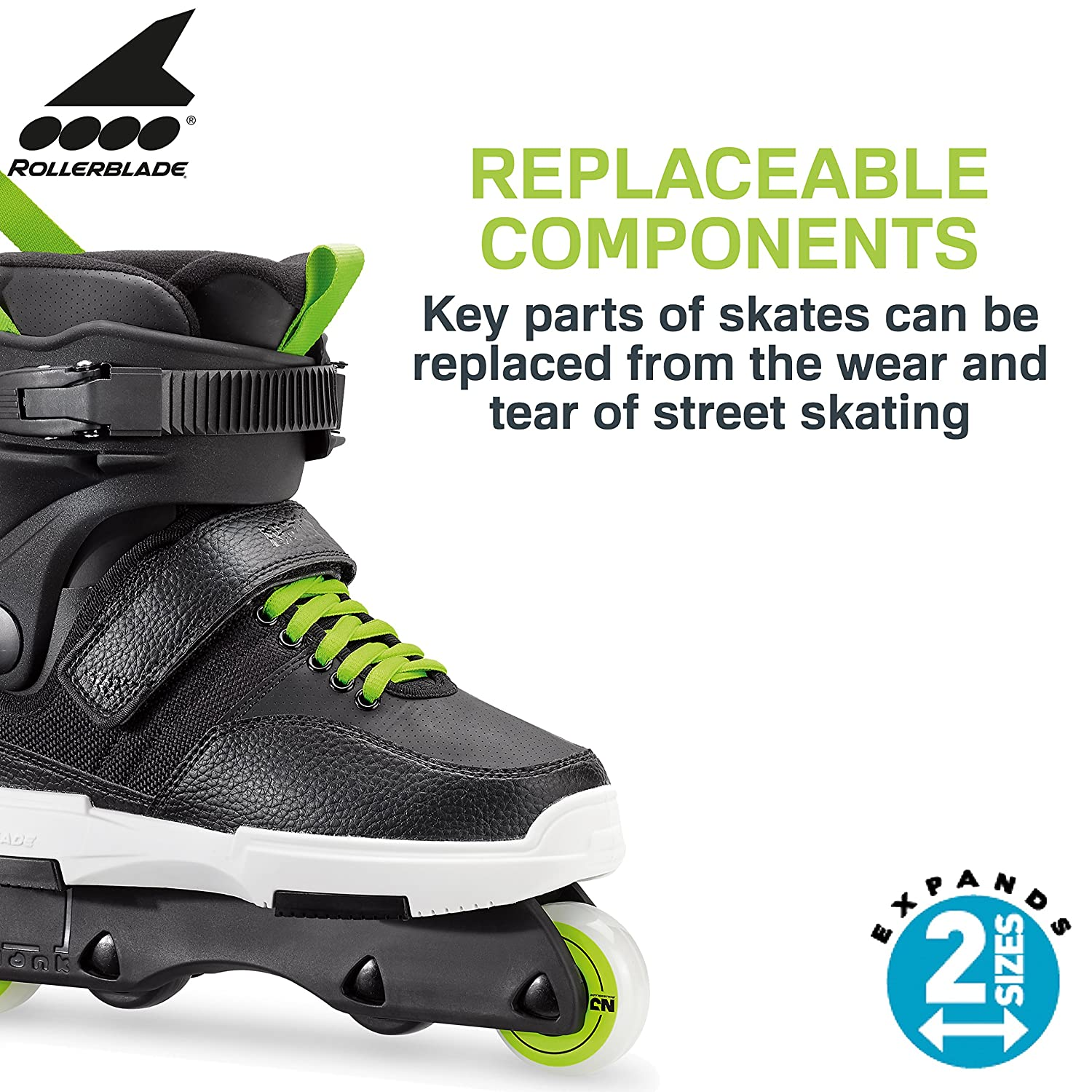 Rollerblade NJR Kid s Size Adjustable Street Inline Skate, Black and Green, High Performance Inline Skates, Youth