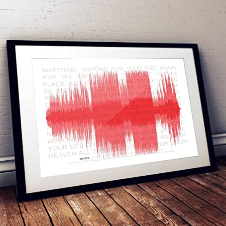 stika.co A3 Music Song Track Sound Wave Print with Lyrics (frame not ...
