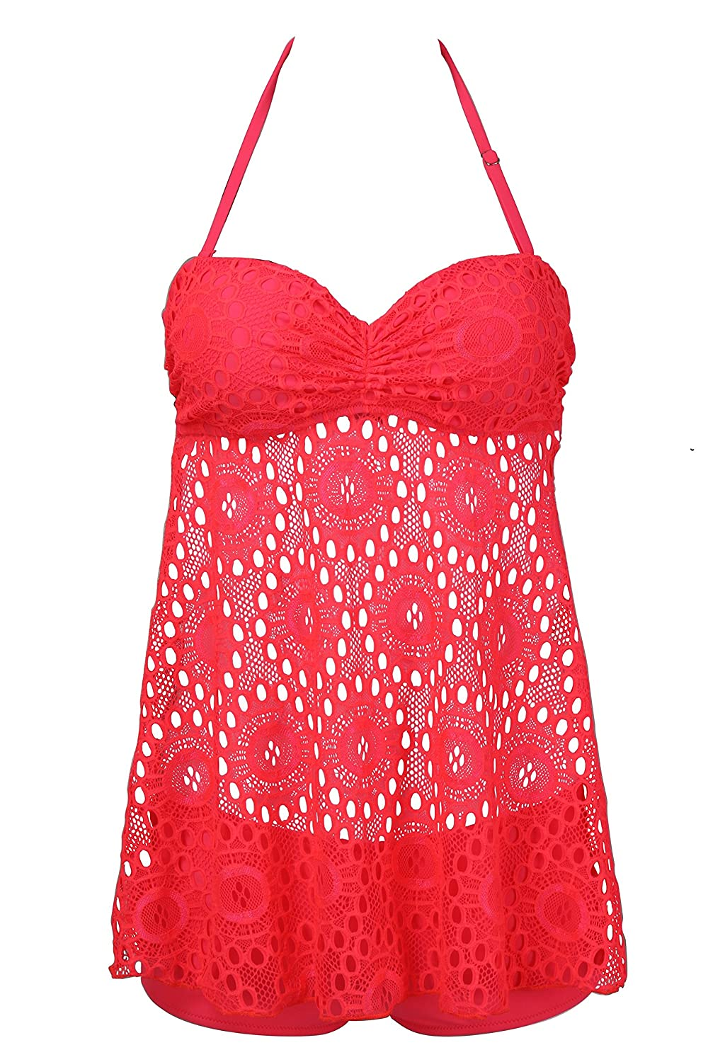 a7d897550f EBMORE® Womens Lace Tankini Crochet Mesh Cover Swimsuit Bathing Suit  Swimwear at Amazon Women s Clothing store
