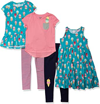Spotted Zebra Girls' Standard 5-Piece Knit Dress, Tunics and Leggings Outfit Sets