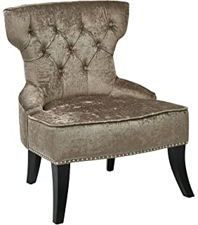 Delightful AVE SIX Colton Button Tufted Back Hourglass Chair With Nailhead And Piping  Accents, Brilliant Otter