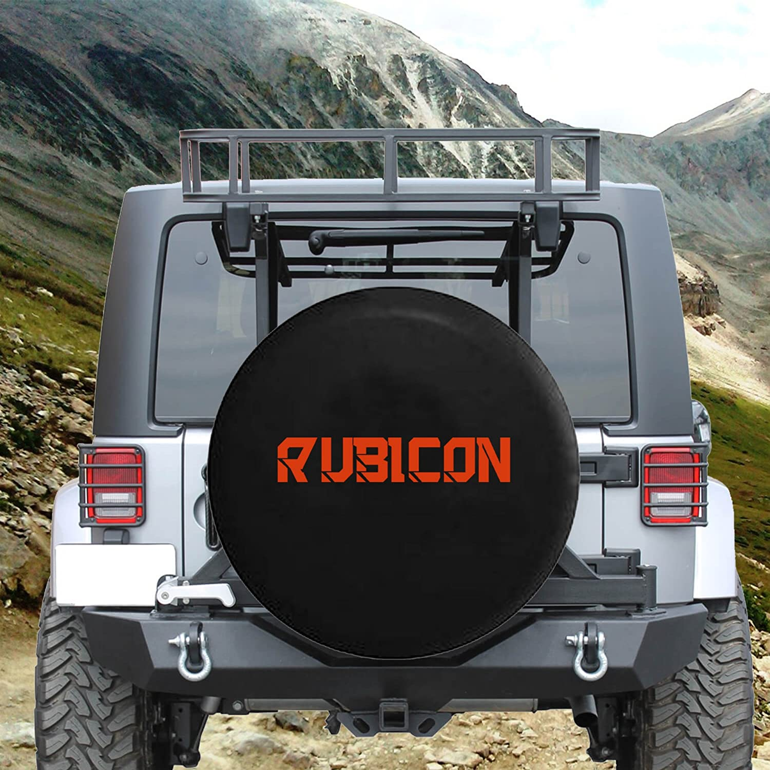Rubicon Hard Rock Climbing Spare Jeep Wrangler Camper SUV Tire Cover Red Ink 35 in