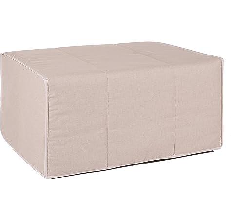 HAPPERS Puff Gris Convertible en Cama cómoda con Funda de Polipiel incluida, Futón con Cama colchon, colchoneta Convertible en Puff o cómodo sillón Fabricado en España. Incluye 3 años de garantía: Amazon.es: