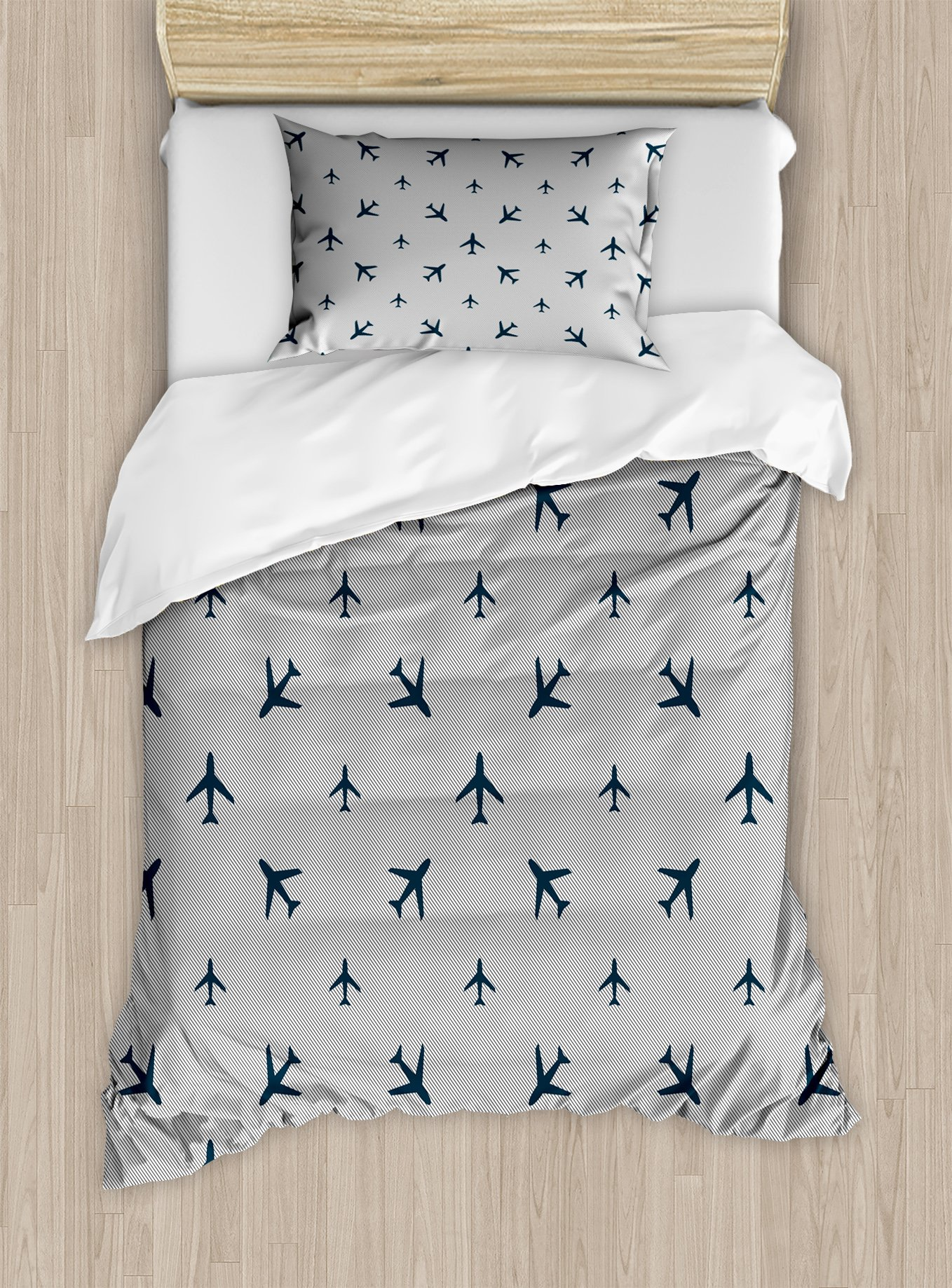 Ambesonne Airplane Duvet Cover Set Twin Size, Diagonal Stripes with Blue Travel Icons Silhouettes Vacation Aviation, Decorative 2 Piece Bedding Set with 1 Pillow Sham, Petrol Blue Black White