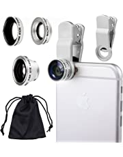 Universal 3 in1 Camera Lens Kit for Smart phones includes One Fish Eye Lens / One 2 in 1 Macro Lens and Wide Angle Lens / One Universal Clip / One Microfiber Carrying Bag / with Camkix Retail Packaging - Compatible with iPhone, Samsung Galaxy, HTC, Motorola, Tablets, iPad, and Laptops