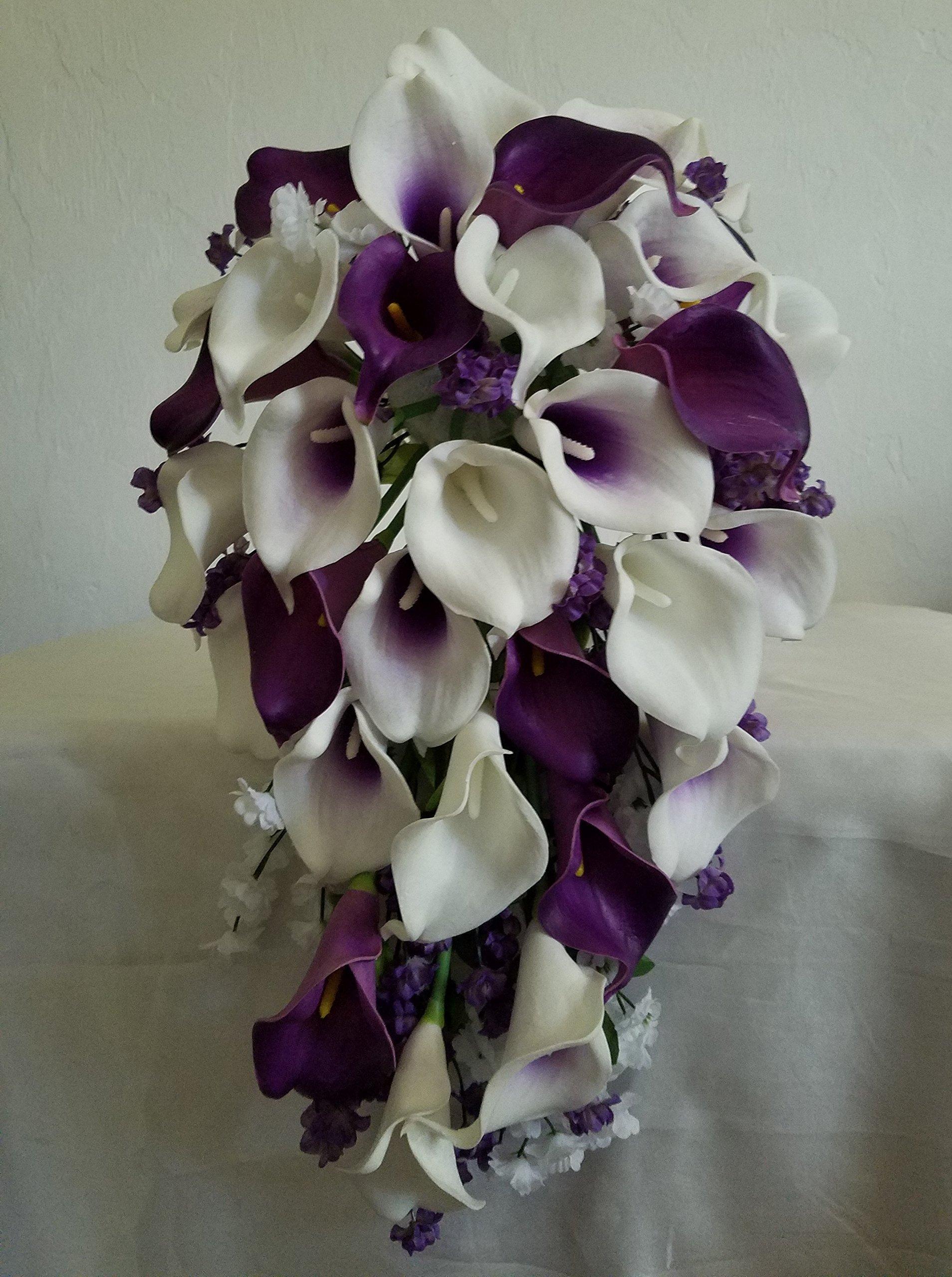 silk flower arrangements purple ivory white calla lily bridal wedding bouquet accessories