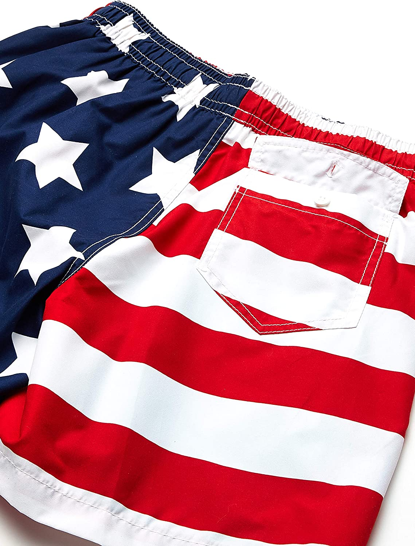 Kanu Surf Mens USA Flag Patriotic Volley Swim Trunks Swim Trunks