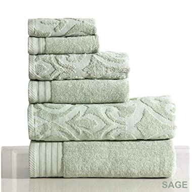 Wicker Park 600 GSM Ultra Soft Luxurious 6-Piece Towel Set (Sage): 2 Bath Towels, 2 Hand Towels, 2 Washcloths, Long-Staple Combed Cotton, Spa Hotel Quality, Super Absorbent, Machine Washable