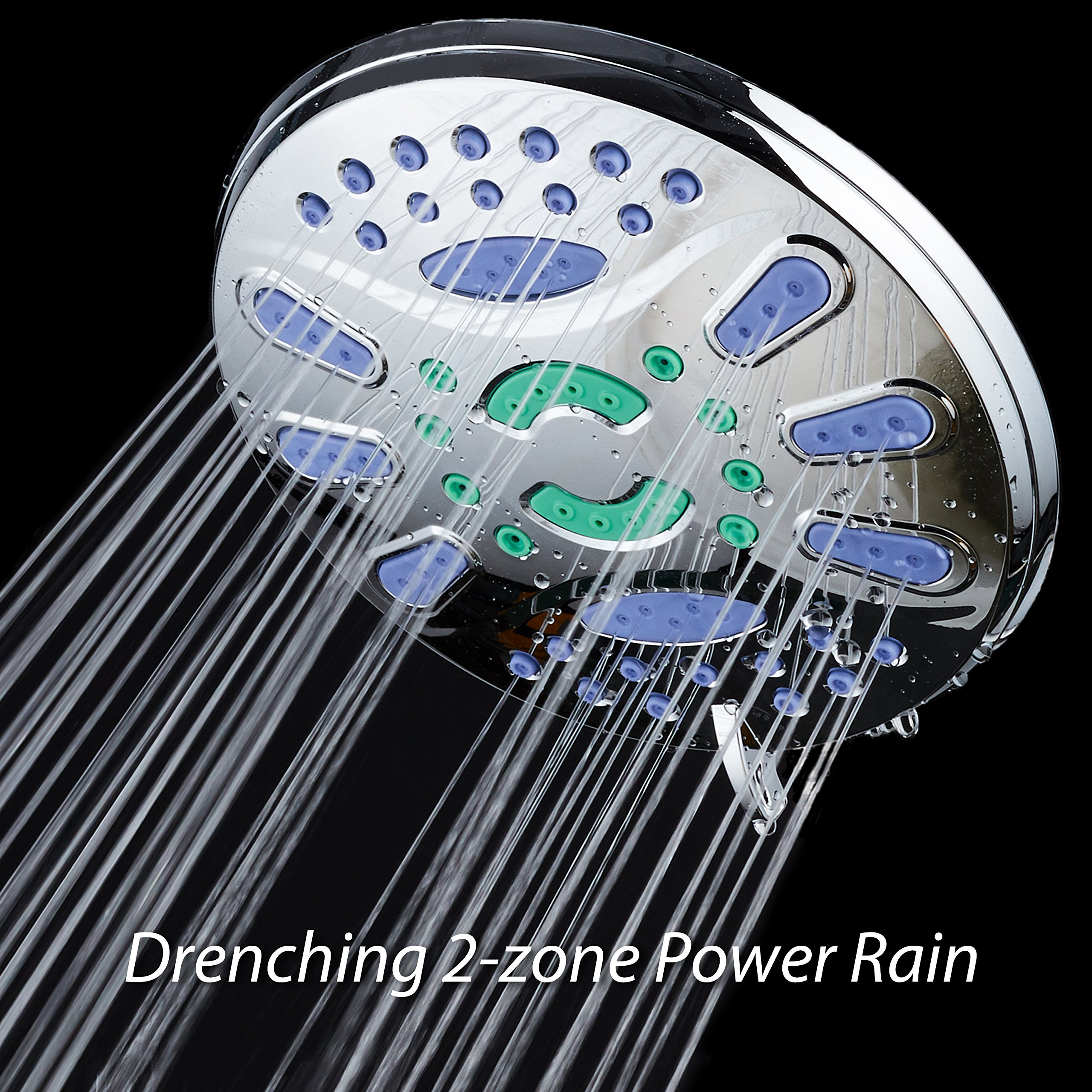 AquaStar Elite High-Pressure 7'' Giant 6-setting Luxury Spa Rain Shower Head with Microban Antimicrobial Anti-Clog Jets for More Power & Less Cleaning! / Solid Brass Ball Join/All Chrome Finish by AquaStar (Image #7)