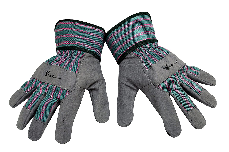 G & F 5009M JustForKids Synthetic Leather Kids Garden Gloves, Kids Work Gloves, Grey, 4-6 years old