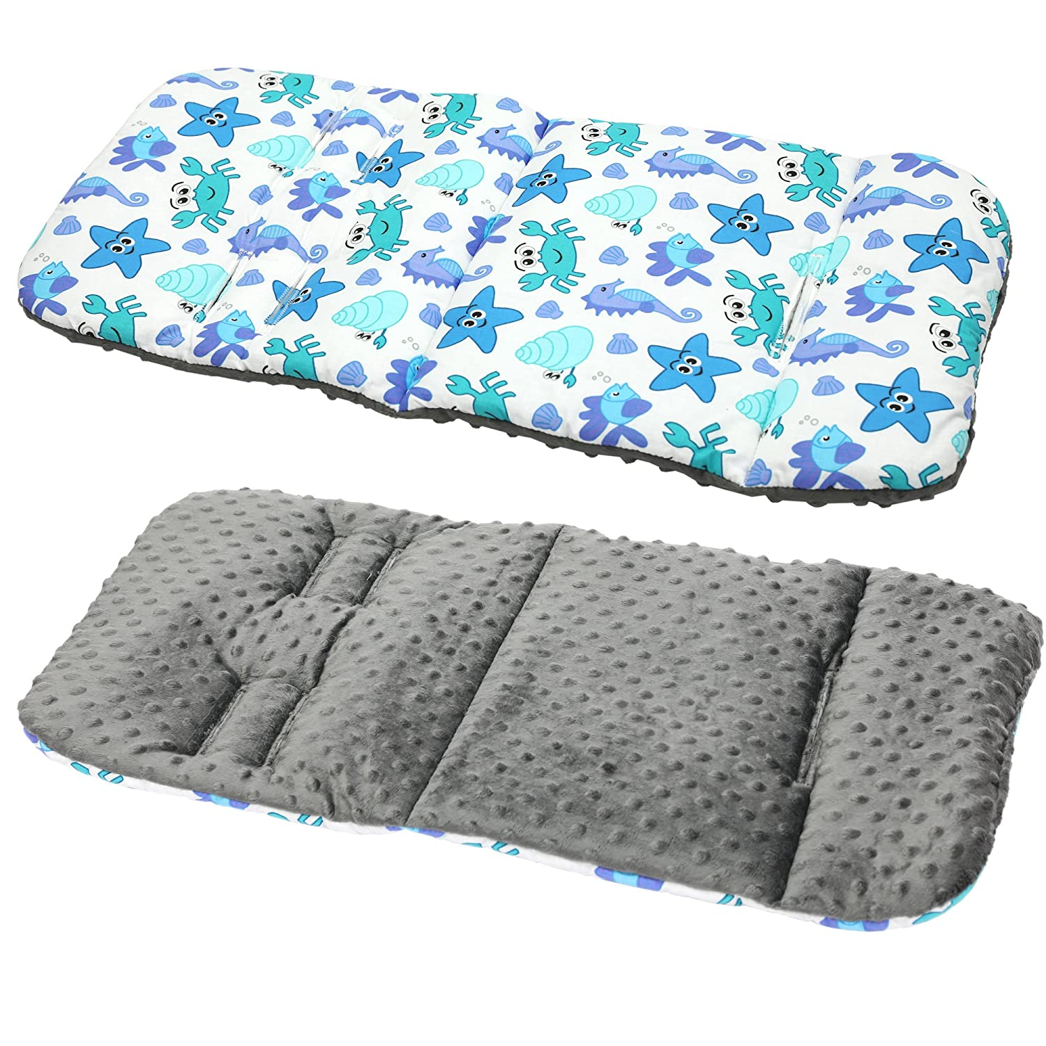 Universal Cover Pushchair Size 32x80 cm Infant Cushion Pad Crocodile,Grey Soft /& Reversible Baby Pure Cotton Stroller Car Seat Liner Pram Insert Portable Changing Pad