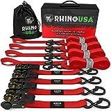 Rhino USA Alças de catraca de serviço médio – Pacote com 4Rhino USA 4 Pack Set (Red) vermelho RATCHET-4PK-RED