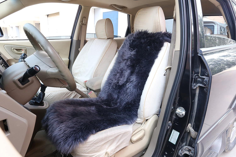 WOLTU® AS7338an Housse de siège de voiture universelle en peau d'agneau, siège housse en peau de mouton , couverture de siège avant du laine épaisseur 6cm, 115x33cm, Anthracite siège housse en peau de mouton