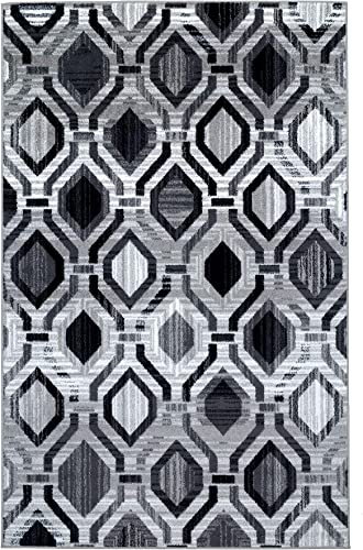 Antep Rugs Elite Collection Geometric Contemporary Distressed Indoor Area Rug Grey