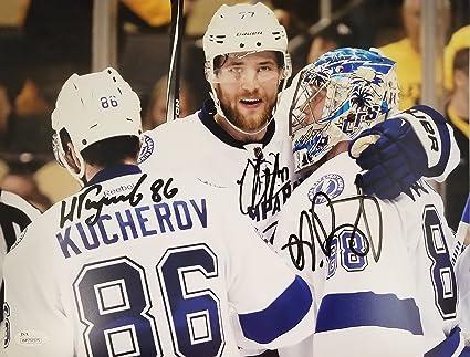 Image Unavailable. Image not available for. Color  Andrei Vasilevskiy Nikita  Kucherov Victor Hedman Autographed Signed 16x20 Tampa Bay Lightning JSA 4ba5c4688