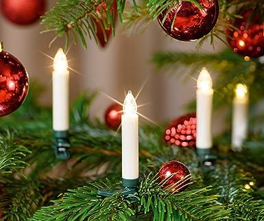 Kabellose Weihnachtsbeleuchtung Innen.20 Er Led Weihnachtskerzen Set Elfenbein Creme Inkl Batterien