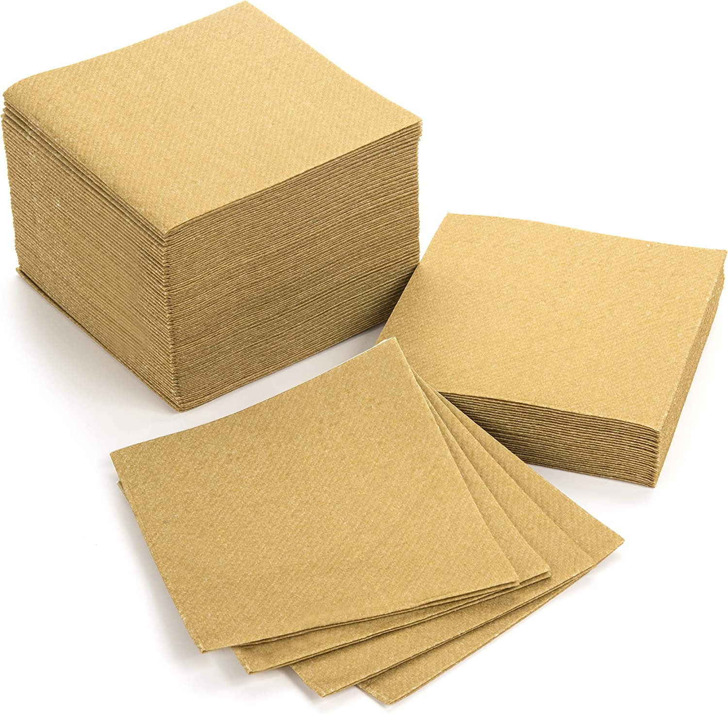 """American Homestead Cocktail Napkins - Small 4"""" x 4"""" Linen-Like Disposable Beverage/Bar Napkins - Bulk Square Napkins Eco-Friendly & Compostable - Everyday Use, Party or Wedding (100 Count, Gold)"""